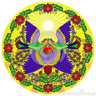 Round pattern with colorful flowers and two birds