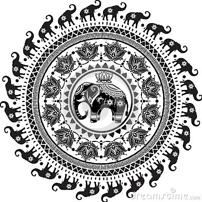 Round pattern with decorated elephants Vector Illustration