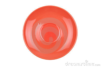 The round red dish isolated