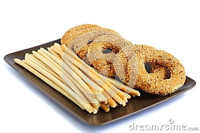Round rusks and bread sticks