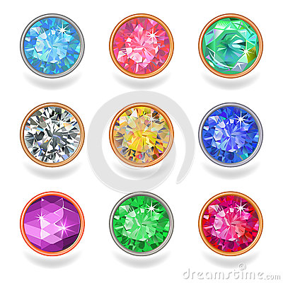 Free Round Shape Top View Bezel Colored Gems Stock Photography - 41036062