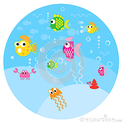 Round small fun fishes