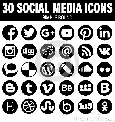 Free Round Social Media Icons Collection - Black Royalty Free Stock Image - 60703186