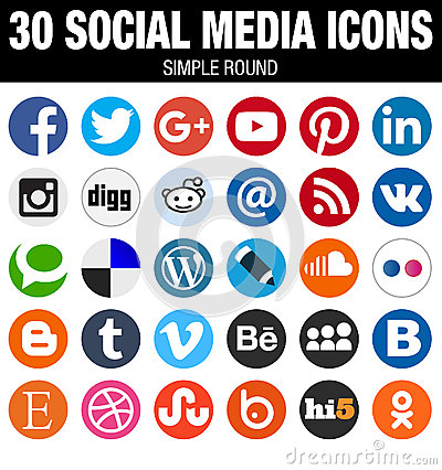 Free Round Social Media Icons Collection Flat Simple Modern Set Stock Images - 60703254