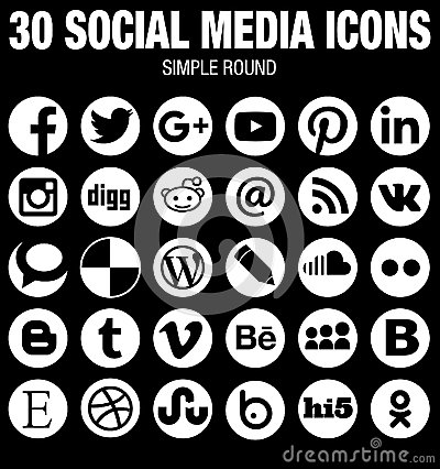 Round social media icons collection white Vector Illustration