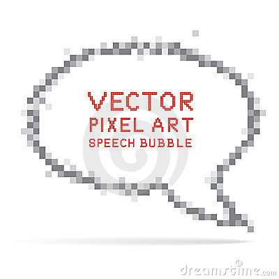 Round speech bubble in pixel art style