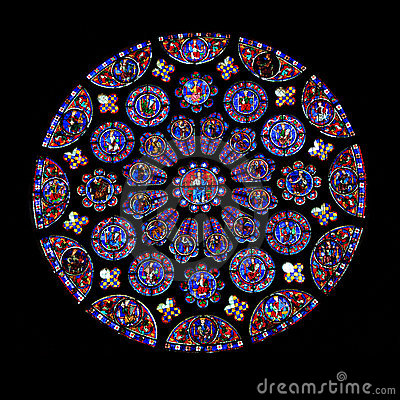 Free Round Stained Glass Window, Chartres Stock Photos - 19097623