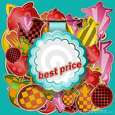 Round sticker on fruit background