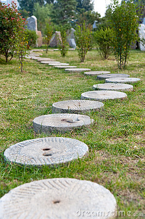 Round Stone Path In The Park