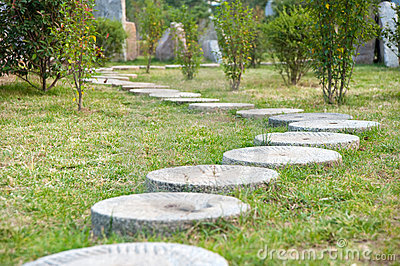 """""""Round Stone"""" Path In The Park"""