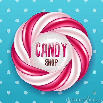Free Round Swirl Candy Cane And Polka Dot Background. Hard Candy Frame. Royalty Free Stock Image - 85610006