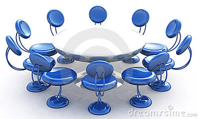 Round table and blue chairs