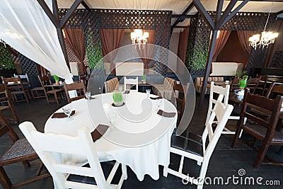 Round table in restaurant