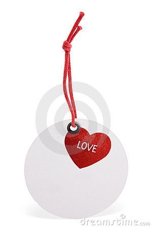 Round tag with heart image