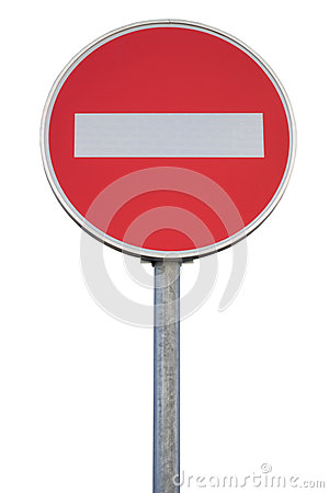 Free Round Traffic Sign For No Entry With Pole Royalty Free Stock Image - 37136146