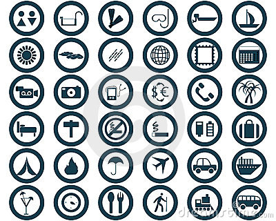 Round travel icons set