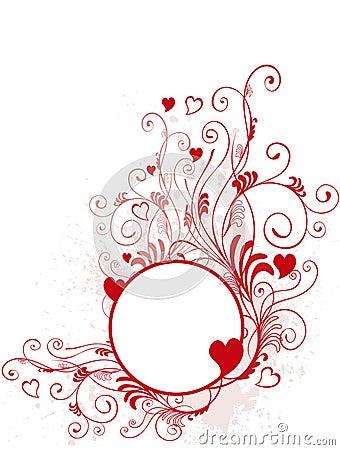 Round valentine s day frame