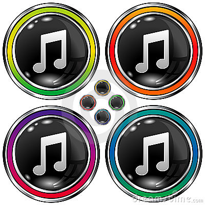 Round vector button with music note icon
