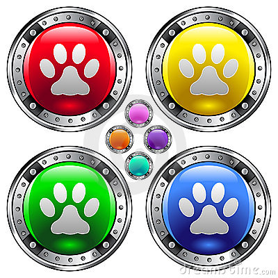 Round vector button set with pet paw print ico