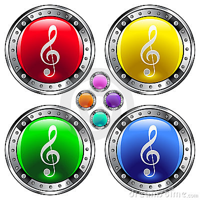Round vector button set with treble clef ico