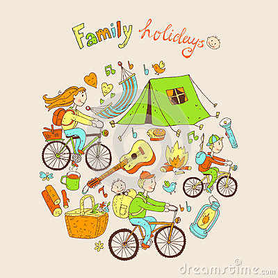Round vector illustration with friendly family and camping equip Vector Illustration