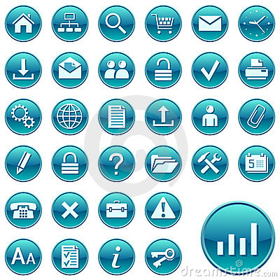 Free Round Web Icons / Buttons Royalty Free Stock Image - 7707266