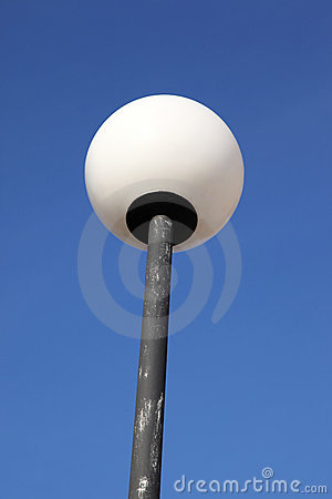 Round White Lamp Post Royalty Free Stock Photography