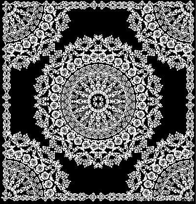 Round white pattern in frame
