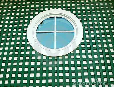 Round window on green