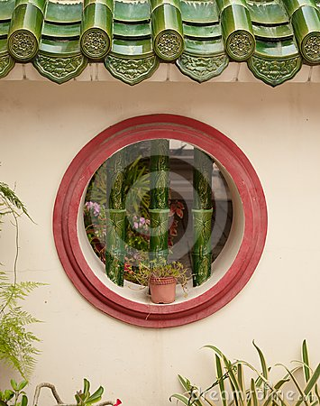 Round window in wall