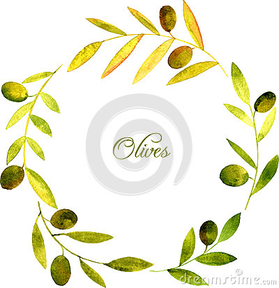 Free Round Wreath With Watercolor Green Leaves And Olives Royalty Free Stock Images - 65863859