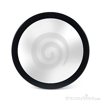 Free Rounded Mirror In Black Frame - Isolated On White Royalty Free Stock Photo - 60954915