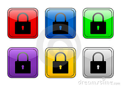 Rounded square button padlock