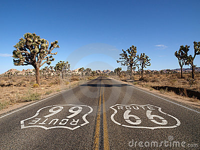 Route 66 with Joshua Trees