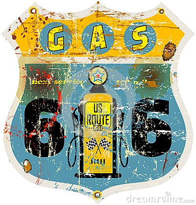 route 66 gas station sign