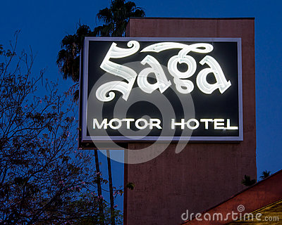 Route 66 Saga Motor Hotel Neon Sign Pasadena Ca Editorial Stock Photo Image 38884433