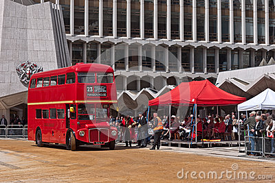 A Routemaster bus in the Cart marking Ceremony Editorial Stock Image