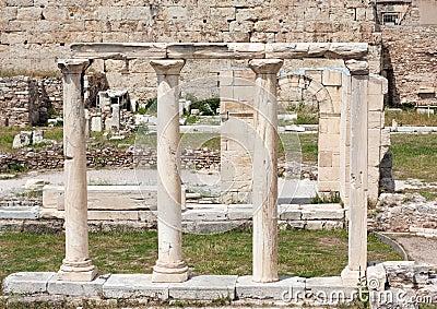 Rovine in agora romano di Atene, Grecia