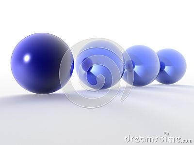 Row of 3d blue spheres