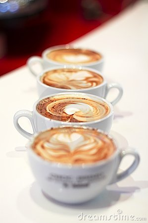 Row of 4 cappuccino cup