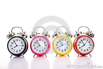 Row of Alarm Clocks