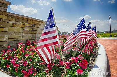 Row of American flags on the street side