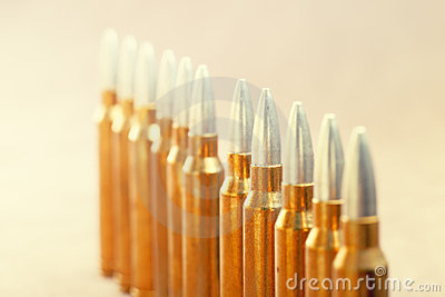 A row of ammunition