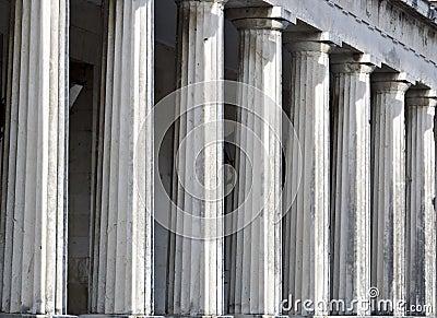 Row of ancient Greek pillars