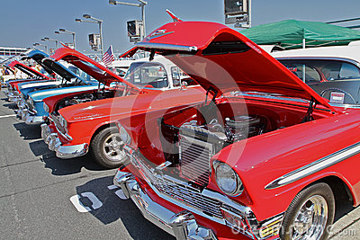 Row of Antique Chevrolet Automobiles Editorial Image