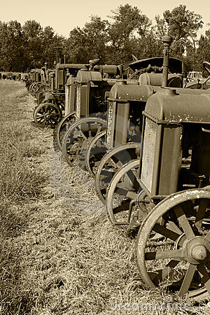 Row of Antique Tractors Sepia