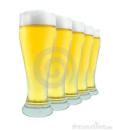 Row Of Beer Glasses on White