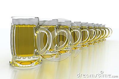 Row of beer mugs