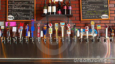 Row of Beer Taps Craft Beers Editorial Stock Photo