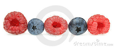A row of berry fruits
